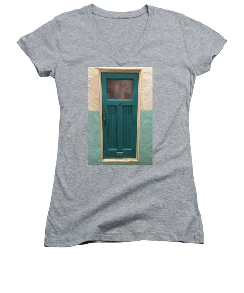 Come In And Chat Women's V-Neck T-Shirt (Junior Cut) by Peggy Stokes