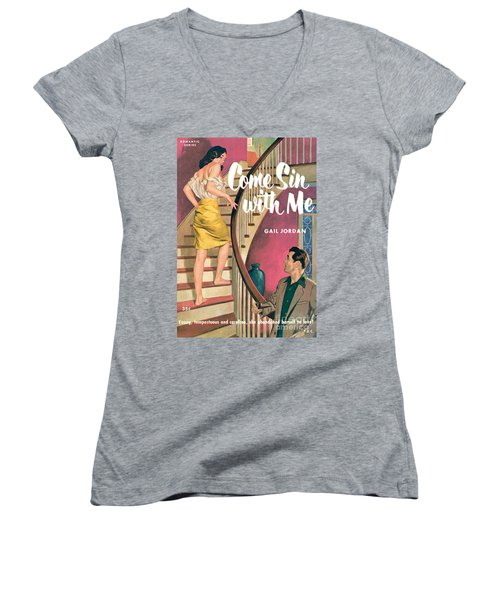 Women's V-Neck T-Shirt (Junior Cut) featuring the painting Come Sin With Me by Walter Popp