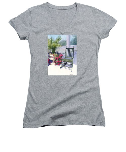 Come Sit A Spell Women's V-Neck T-Shirt (Junior Cut) by Janet King