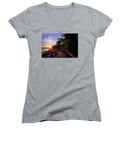 Come Walk With Me Women's V-Neck T-Shirt (Junior Cut) by Keith Boone