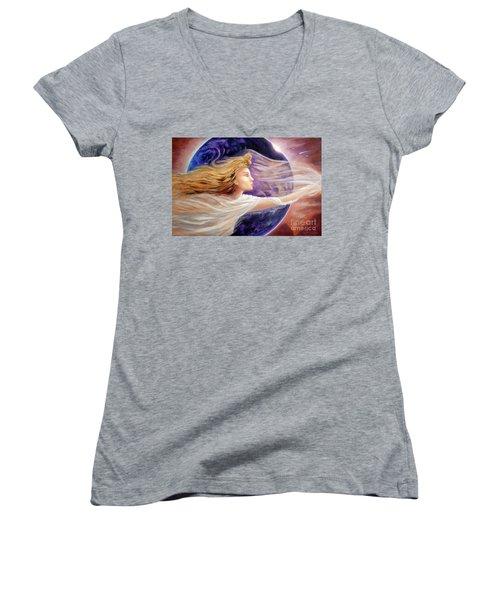 Comet Dreamer Voyage  Women's V-Neck T-Shirt (Junior Cut) by Michael Rock
