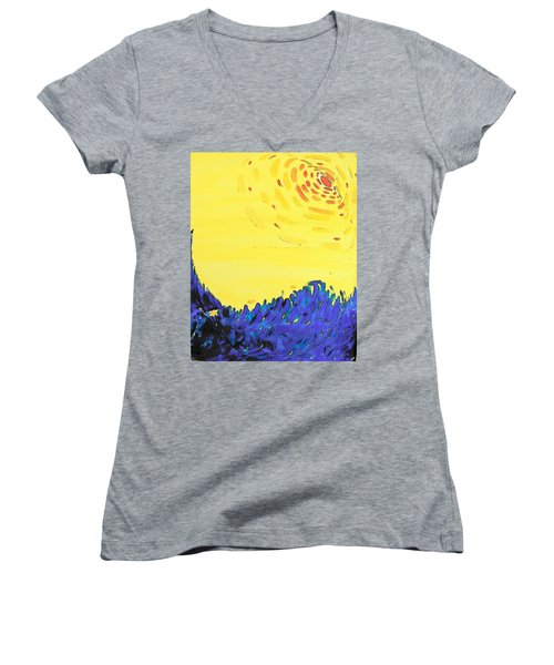 Women's V-Neck T-Shirt (Junior Cut) featuring the painting Comet by Lenore Senior