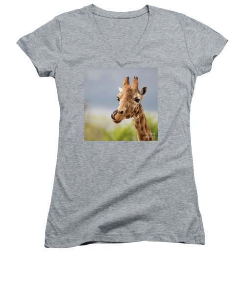 Comical Giraffe With His Tongue Out.  Women's V-Neck