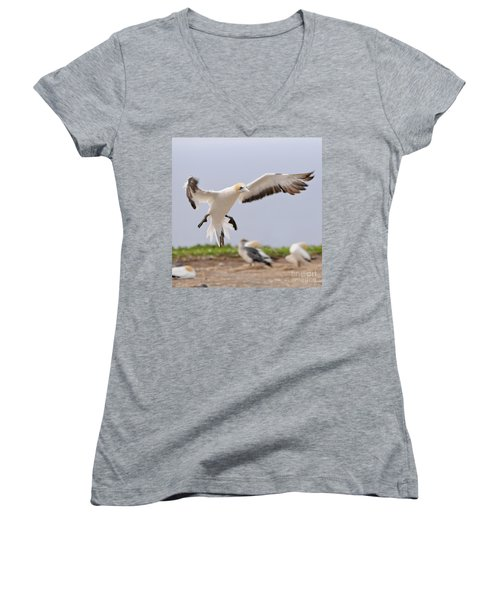 Coming In To Land Women's V-Neck T-Shirt (Junior Cut) by Werner Padarin