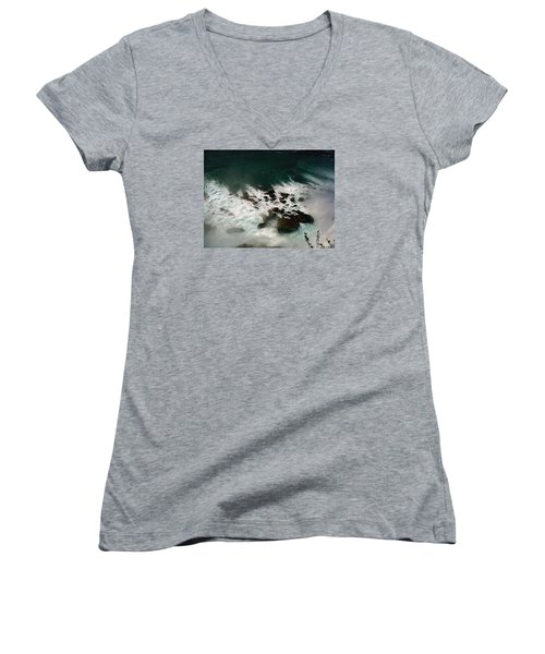 Women's V-Neck T-Shirt (Junior Cut) featuring the photograph Coming Out by Harsh Malik