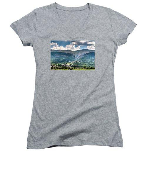 Cominio Women's V-Neck T-Shirt (Junior Cut) by Randy Scherkenbach