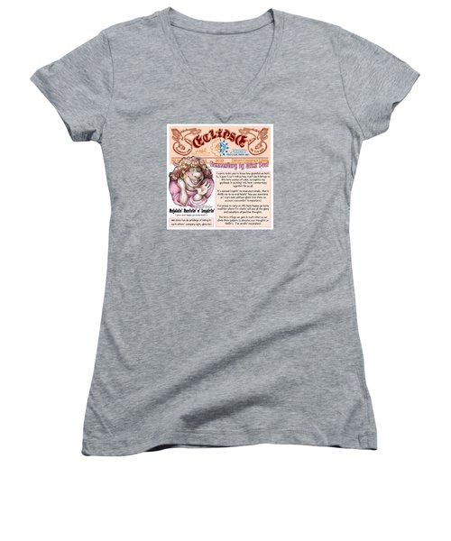 Women's V-Neck T-Shirt (Junior Cut) featuring the drawing Real Fake News Lnspirational Column 2 by Dawn Sperry