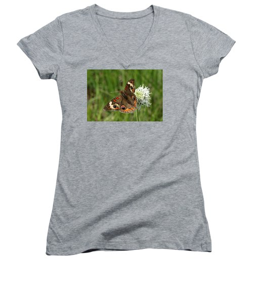 Common Buckeye Butterfly On Wildflower Women's V-Neck