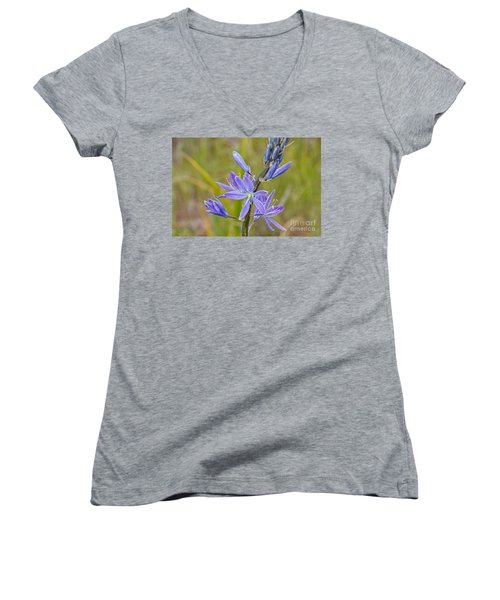 Common Camas Women's V-Neck T-Shirt (Junior Cut) by Sean Griffin