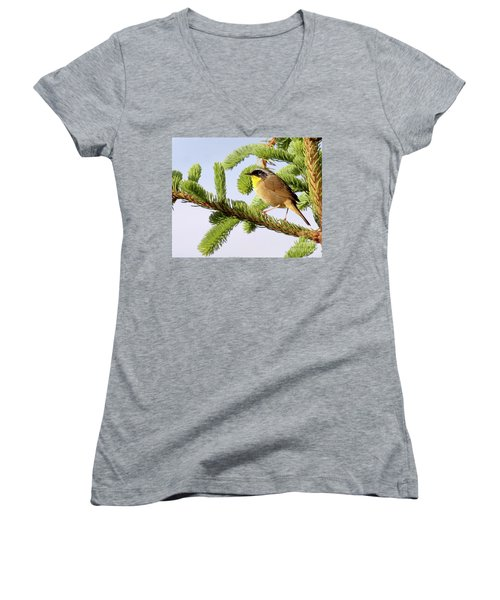 Common Yellow-throat Women's V-Neck T-Shirt (Junior Cut) by Debbie Stahre
