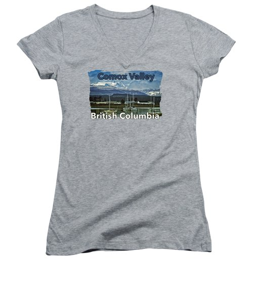Comox Glacier Overlooking Comox Harbor Women's V-Neck T-Shirt