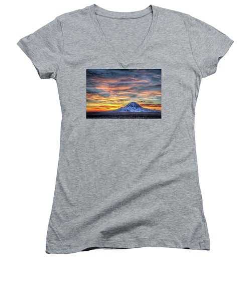 Women's V-Neck featuring the photograph Complicated Sunrise by Fiskr Larsen
