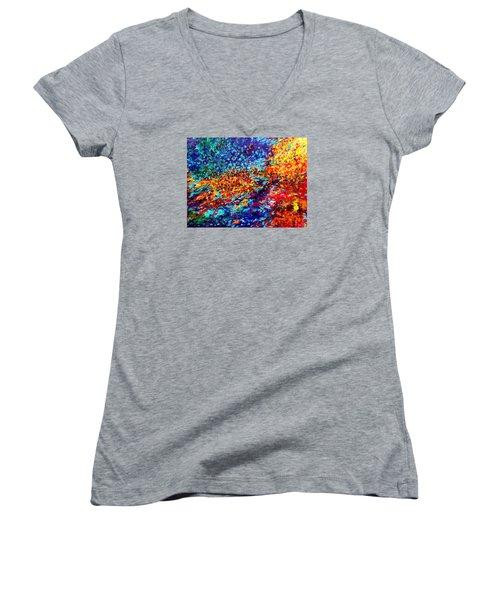 Composition # 5. Series Abstract Sunsets Women's V-Neck T-Shirt (Junior Cut) by Helen Kagan