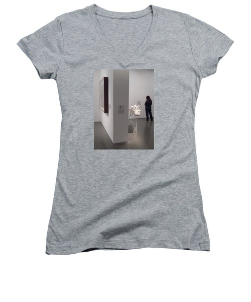 Composition In White, Black And Gray, Women's V-Neck T-Shirt (Junior Cut) by Esther Newman-Cohen