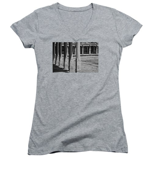 Women's V-Neck T-Shirt (Junior Cut) featuring the photograph Composition Of Pillars, Hampi, 2017 by Hitendra SINKAR