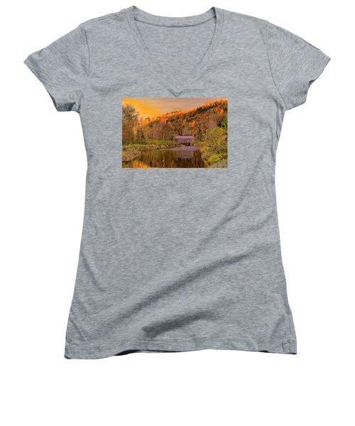 Comstock Bridge Women's V-Neck T-Shirt (Junior Cut) by John Selmer Sr