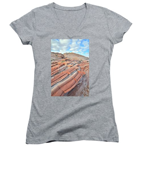 Concentric Circles Of Sandstone At Valley Of Fire Women's V-Neck T-Shirt (Junior Cut) by Ray Mathis