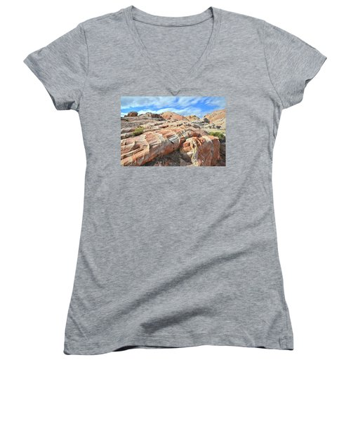 Concentric Color In Valley Of Fire Women's V-Neck T-Shirt (Junior Cut) by Ray Mathis