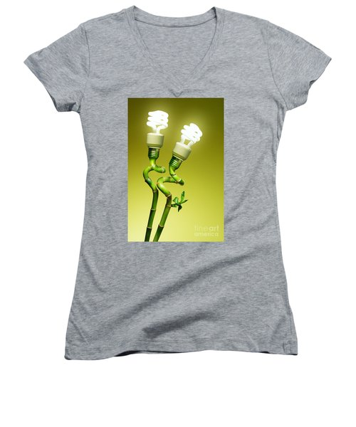 Conceptual Lamps Women's V-Neck T-Shirt (Junior Cut) by Carlos Caetano