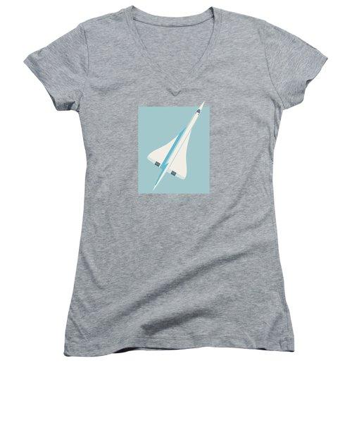 Concorde Jet Airliner - Sky Women's V-Neck T-Shirt