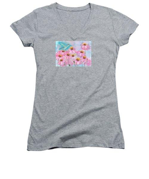 Coneflower Hummingbird Watercolor Women's V-Neck T-Shirt (Junior Cut) by Patti Deters