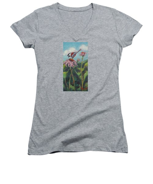 Coneflower Peep Women's V-Neck T-Shirt (Junior Cut)