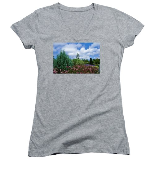 Women's V-Neck T-Shirt (Junior Cut) featuring the photograph Coneflowers And Clouds by Lois Lepisto