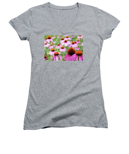 Women's V-Neck T-Shirt (Junior Cut) featuring the photograph Coneflowers by David Chandler
