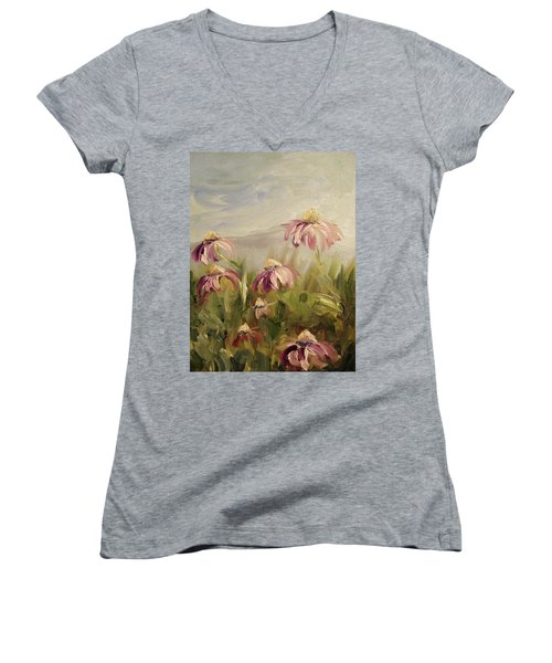 Women's V-Neck T-Shirt (Junior Cut) featuring the painting Coneflowers by Donna Tuten