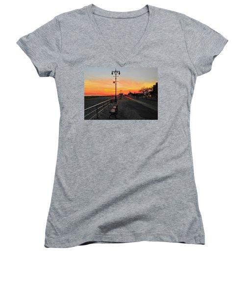 Coney Island Boardwalk Sunset Women's V-Neck (Athletic Fit)