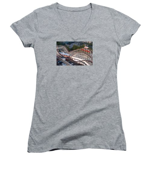 Coney Island Cyclone Women's V-Neck T-Shirt (Junior Cut) by James Kirkikis