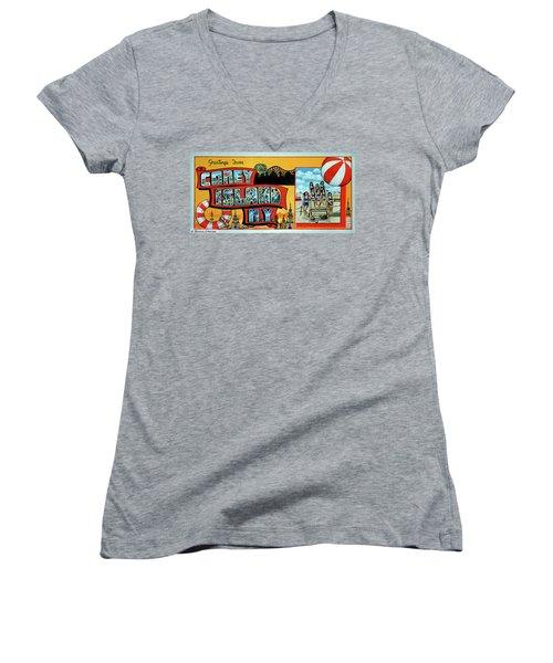 Coney Island Post Card Women's V-Neck T-Shirt