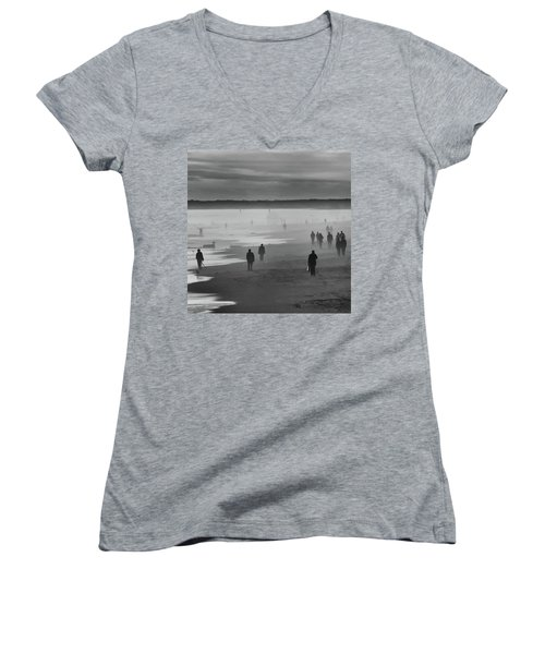 Women's V-Neck featuring the photograph Coney Island Walkers by Eric Lake