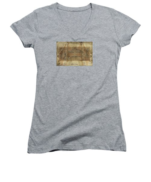 Women's V-Neck T-Shirt (Junior Cut) featuring the digital art Confederate $1 North Carolina Note by Melissa Messick