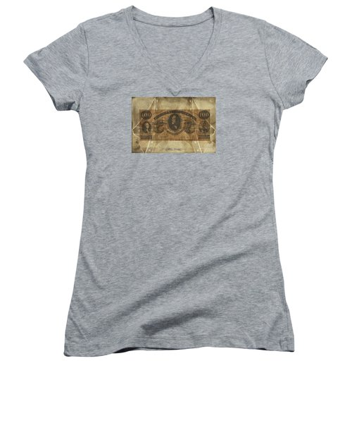 Women's V-Neck T-Shirt (Junior Cut) featuring the digital art Confederate $100 Virginia Note by Melissa Messick
