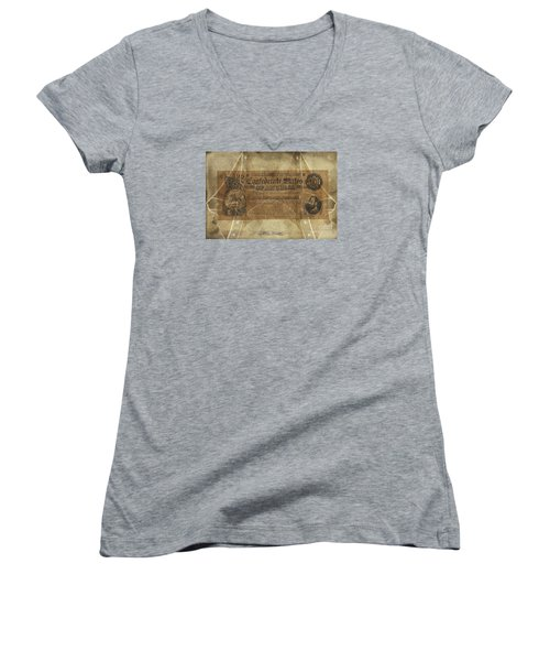 Women's V-Neck T-Shirt (Junior Cut) featuring the digital art Confederate $500.00 Note by Melissa Messick