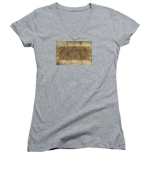 Women's V-Neck T-Shirt (Junior Cut) featuring the digital art Confederate Cotton Planters Loan$5 Note by Melissa Messick