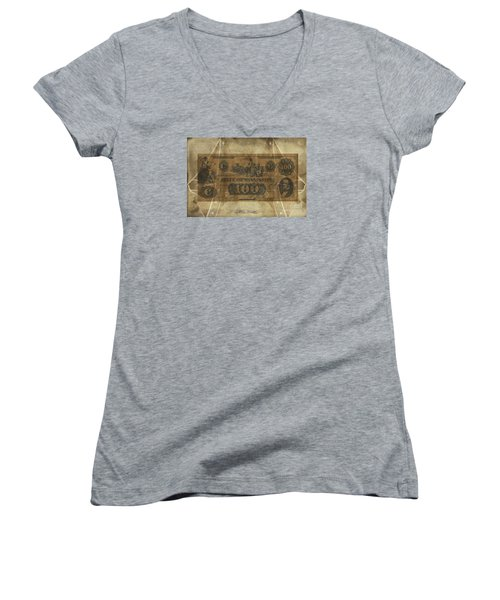 Women's V-Neck T-Shirt (Junior Cut) featuring the digital art Confederate Mississippi $100 Note by Melissa Messick