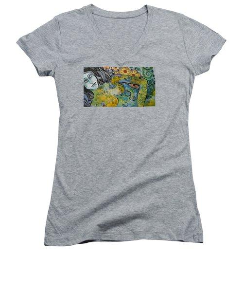 Conflict Women's V-Neck T-Shirt (Junior Cut) by Claudia Cole Meek
