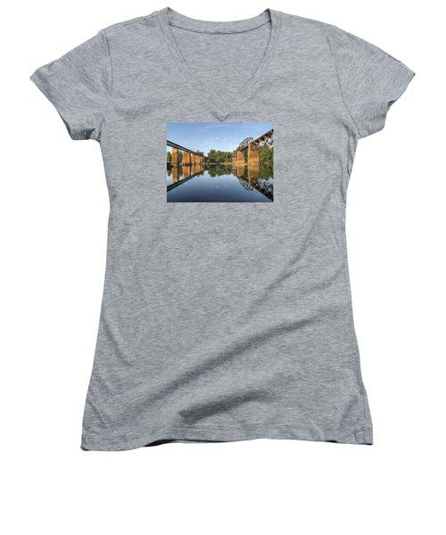 Congaree River Rr Trestles - 1 Women's V-Neck T-Shirt (Junior Cut) by Charles Hite