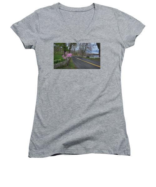 Women's V-Neck T-Shirt (Junior Cut) featuring the photograph Connecticut Country Road by Bill Wakeley