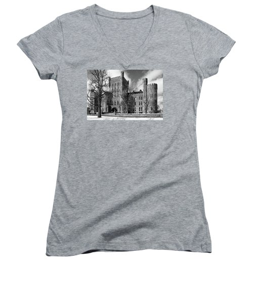 Women's V-Neck T-Shirt (Junior Cut) featuring the photograph Connecticut Street Armory 3997b by Guy Whiteley