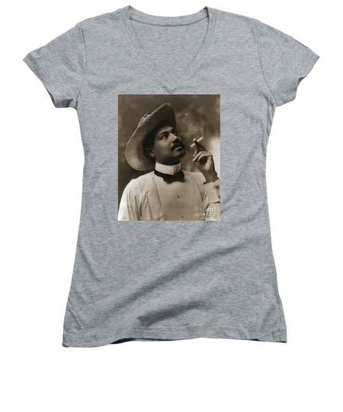 Women's V-Neck T-Shirt (Junior Cut) featuring the photograph Connoisseur 1899 by Padre Art