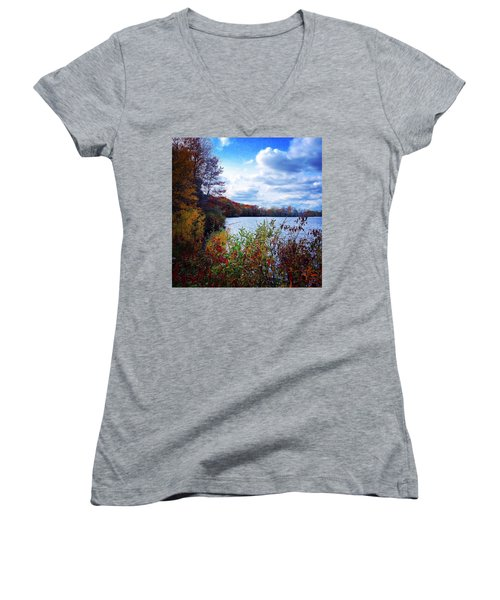 Conservation Park And Pine River In The Fall Women's V-Neck (Athletic Fit)