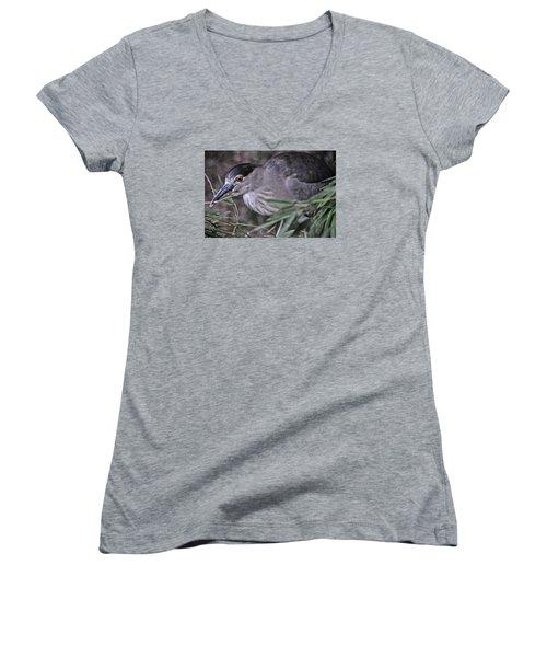 Constructing A Nest Women's V-Neck T-Shirt (Junior Cut) by Mike Martin