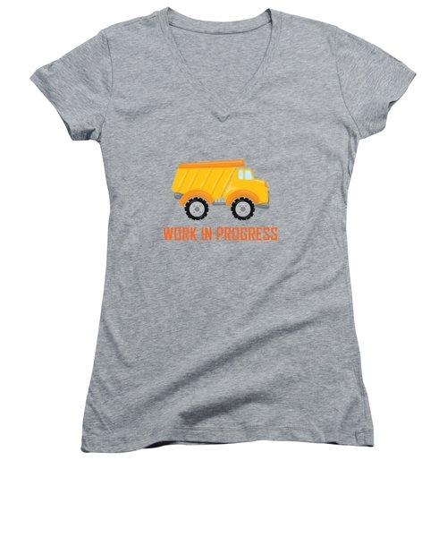 Construction Zone - Dump Truck Work In Progress Gifts - Grey Background Women's V-Neck T-Shirt