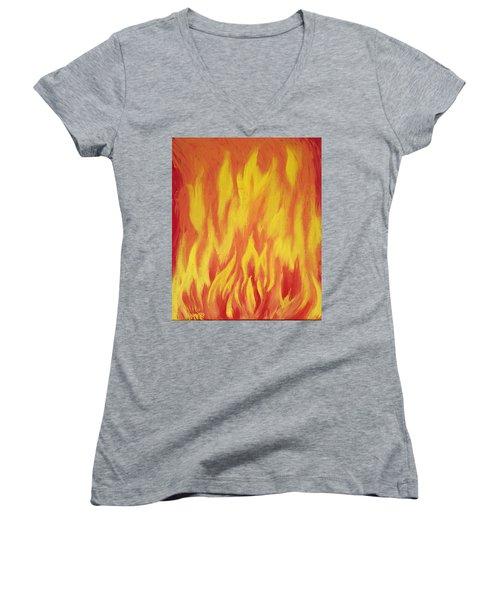 Consuming Fire Women's V-Neck T-Shirt (Junior Cut) by Antonio Romero