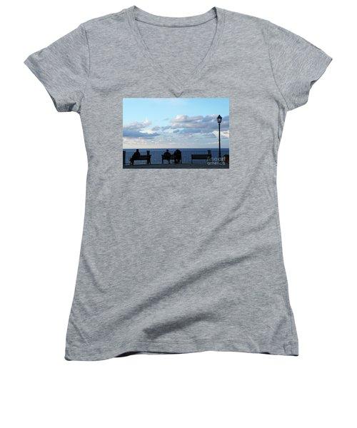 Contemplation Women's V-Neck T-Shirt (Junior Cut) by Ana Mireles