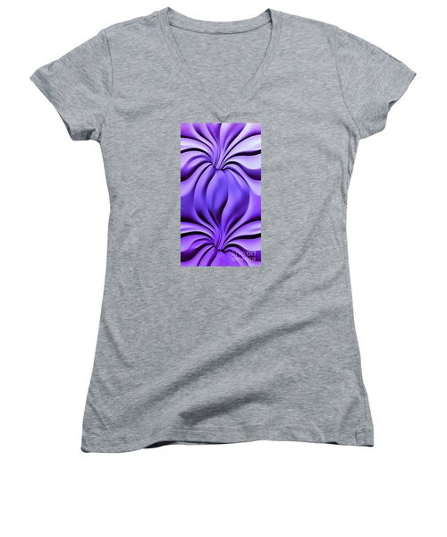 Women's V-Neck T-Shirt (Junior Cut) featuring the photograph Contemplation In Purple by Roberta Byram