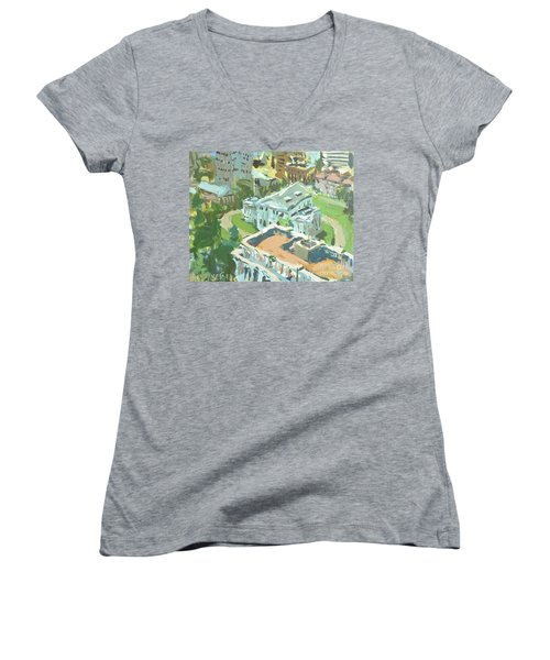 Contemporary Richmond Virginia Cityscape Painting Featuring Virginia State Capitol Building Women's V-Neck T-Shirt (Junior Cut) by Robert Joyner